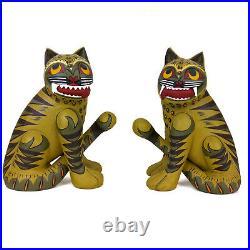 VTG Fierce Korean Guardian Painted Wooden Tigers Figurines Folk Art Primitive