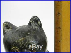 VTG Folk Art Hand Carved Wood Painted Black Cat Signed Don Beauregard Salem MA