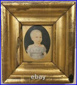 Very Good Early 19th Century Watercolor Portrait Of A Child
