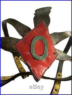 Vintage 1930s Painted Leather Folk Art Circus Elephant Harness Headdress