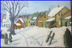 Vintage 1945 Folk Art Oil Painting Village Cape Cod Landscape Country Primitive