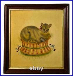 Vintage 1970s Signed Theorem Stencil Painting Primitive Folk Cat in Basket Mouse