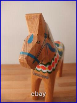 Vintage Akta Hemslojd Painted Swedish Dala Horse Wooden Folk Art brown Large 10