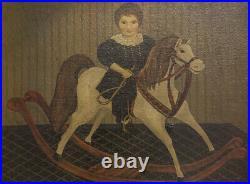 Vintage American Folk Art Original Oil Girl On Rocking Horse