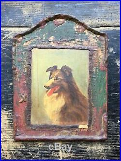Vintage Antique Collie Dog Oil Painting Portrait Lassie Primitive Folk Art 30s
