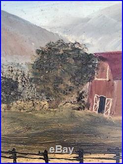 Vintage Antique Oil on Board Primitive Folk Art Farm Barn Country