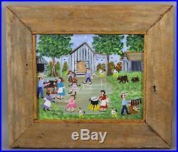 Vintage Black Americana Folk Art Naive MAY KUGLER Louisiana Acrylic Painting NR