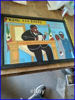 Vintage FOLK ART SENEGAL AFRICAN ORIGINAL Painting on Board Framed-UNIQUE