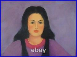Vintage FOLK ART oil Painting Signed Art Portrait Canvas original master pop art
