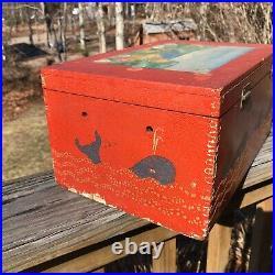 Vintage Folk Art Hand Painted Small Pine Wooden Box Nautical Theme