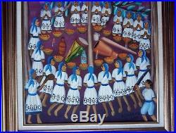 Vintage Folk Art Oil Painting Famous Haitian Alexandre Gregoire Voodoo Ceremony