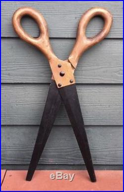 Vintage Folk Art Oversized Carved Wood Scissors Trade Sign Hand Painted Good Con