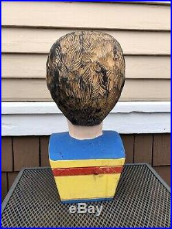 Vintage Folk Art Painted Carved Wood Carnival Sideshow Head Bust, Life Size
