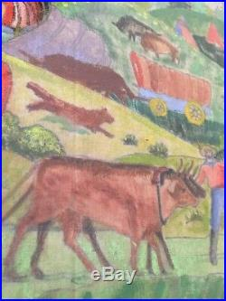Vintage Folk Art Painting Western Scene Cowboys Native Americans Horse Theorem