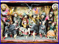 Vintage Folk Art Peruvian Retablo Claudio Jimenez Lima Painted Plaster Sculpture