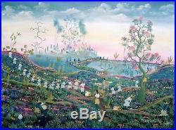 Vintage Haitian Folk Art Naif BIJOUX Painting Magloire Haiti Harvest 16x12