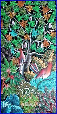 Vintage Haitian Folk Art Naif BIJOUX Painting Patrick Joseph Haiti BIRDS 20x10