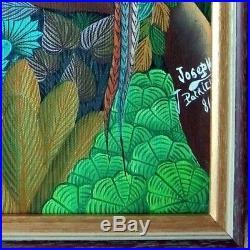 Vintage Haitian Folk Art Naif BIJOUX Painting Patrick Joseph Haiti BIRDS 9x12