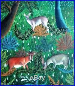 Vintage Haitian Folk Art Naif BIJOUX Painting Patrick Joseph Haiti DEERS 20x10