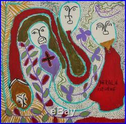 Vintage Haitian Folk Art Naif Brut Raw Painting Estivene Haiti Faces 24x24