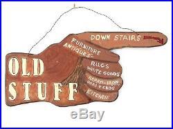 Vintage Hand Carved Painted Advertising Sign Finger Hand Antiques Folk Art Wood