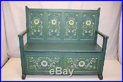 Vintage Hand Painted Carved Entryway Flip Lid Bench with Folk Art Work