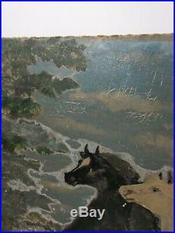 Vintage Hand Painted Horse Painting Western Primitive Folk Art Wood Horses Hills