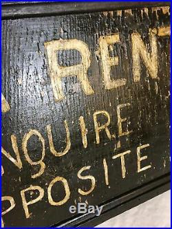 Vintage Hand Painted Wooden Folk Art Rent Sign