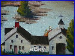Vintage Landscape New England Boston Ma Impressionist Folk Mystery Oil Painting