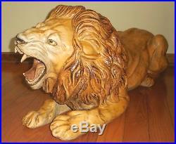 Vintage Lion Statue Hand Painted Plaster Over Fiberglass Life Size Folk Art 39L