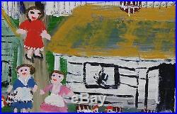 Vintage MAY KUGLER Black Americana Folk Art Naive Louisiana Acrylic Painting NR