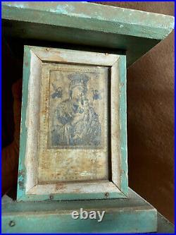 Vintage Mexican Folk Art CROSS Wooden Great Old Paint Crucifix Retablo