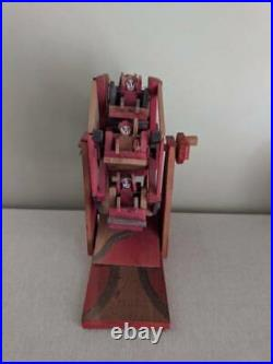 Vintage Mexican Folk Art Hand Crafted Painted Red Green Wood Ferris Wheel