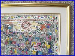 Vintage Mexican Folk Art White Amate Bark Painting Santos Guerrero Framed 1985