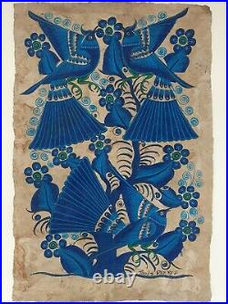 Vintage Mexican Folk art Amate Bark Painting Birds Blue