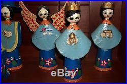 Vintage Mexican Hand Painted Folk Art Paper Mache Nativity Scene Manger Creche