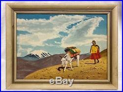 Vintage Mid-Century Painting from La Paz, Bolivia South American 11x 15 Folk