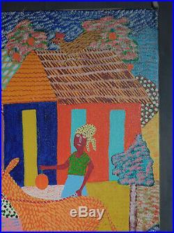 Vintage Modern Primitive Haitian Folk Art BIG Painting Georges Auguste VIBRANT