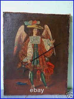 Vintage Mystery Artist Warrior Saint Angel Cusco Peru Folk Art Style Painting #1
