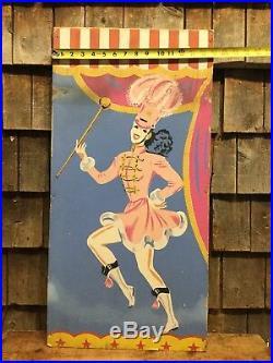 Vintage Original Circus Carnival Majorette Folk Art Painted Sign Panel 30x15