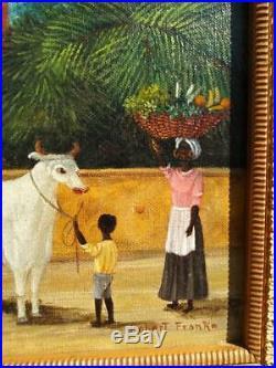 Vintage Original Robert Franke Landscape Primitive Folk Art Oil Painting Cow Dog