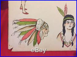 Vintage Original Tattoo Flash Hand Drawn Painted Antique Folk Art Tattooing