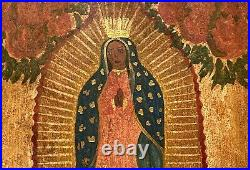 Vintage Our Lady Of Guadalupe Hand Painted Tin Retablo Mexico Latin Folk Art
