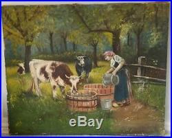 Vintage Pastoral Landscape, Folk Art, Oil Painting On Stretched Canvas Of Cows