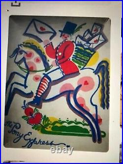 Vintage Peter Hunt Folk Art Hand Painted Waste Basket EARLY. Authentic