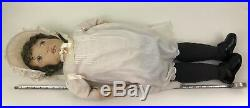Vintage Primitive Doll Cloth Folk Art Large 35 Painted Girl Handmade Artist