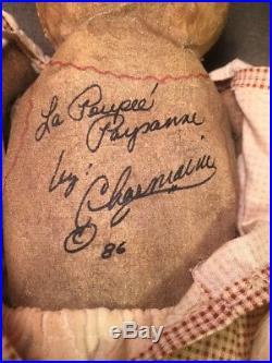 Vintage Primitive Folk Art Handmade Signed Oil Painted Face Cloth Rag Doll