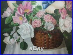 Vintage Signed Americana Portrait Primitive Folk Art Oil Painting Flower Girl