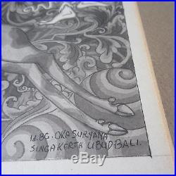 Vintage Ubud Bali Painting Singa Kerta Oka Suryana Hunting Scene Folk Art Master