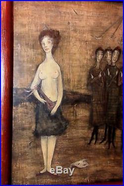 Vintage original Carol Blanchard 1940's figural nude oil painting Folk Art
